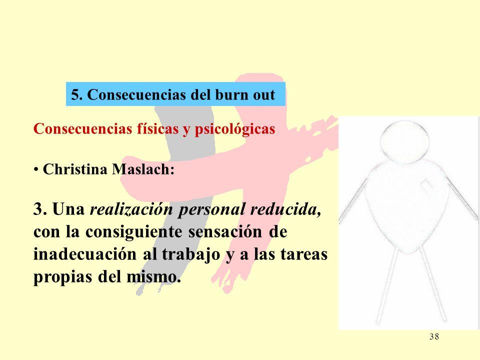 38 5. Consecuencias del burn out Consecuencias físicas y psicológicas Christina Maslach: 3. Una realización personal reducida, con la consiguiente sen