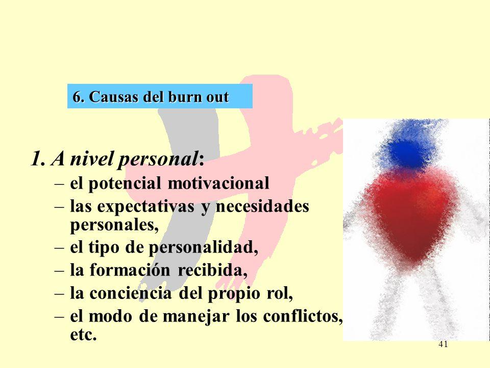 41 6. Causas del burn out 1. A nivel personal: –el potencial motivacional –las expectativas y necesidades personales, –el tipo de personalidad, –la fo