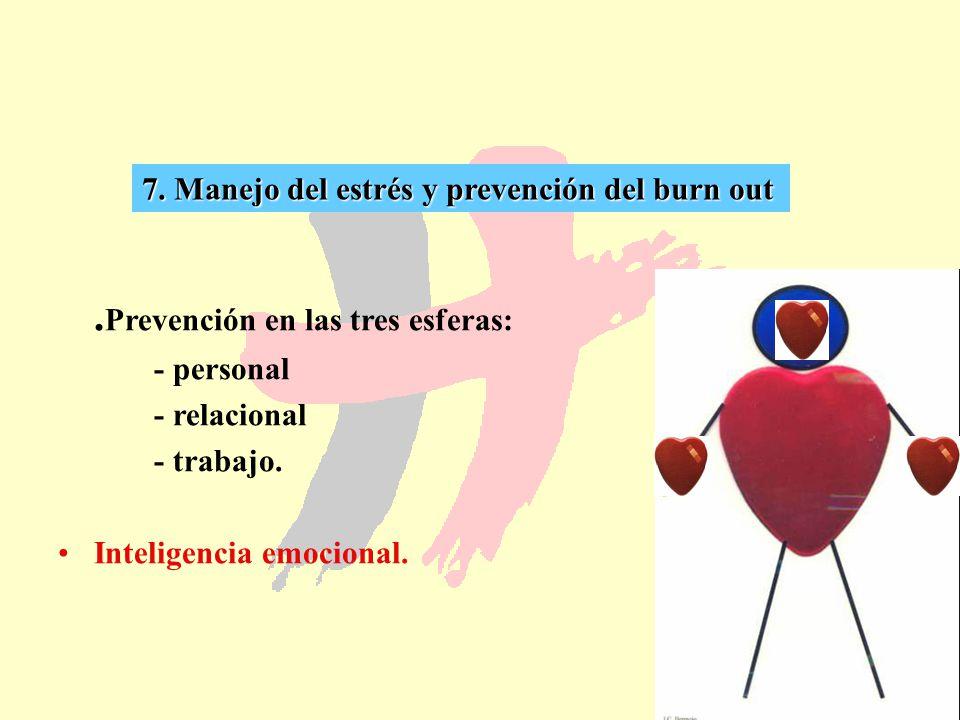 46 7. Manejo del estrés y prevención del burn out. Prevención en las tres esferas: - personal - relacional - trabajo. Inteligencia emocional.