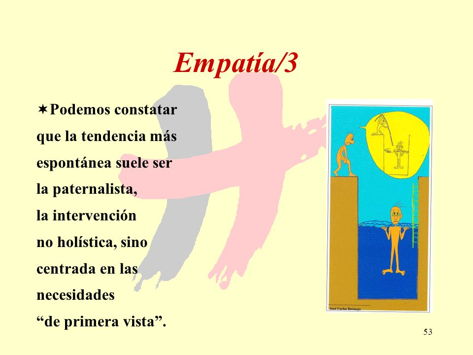 53 Empatía/3 Podemos constatar que la tendencia más espontánea suele ser la paternalista, la intervención no holística, sino centrada en las necesidad
