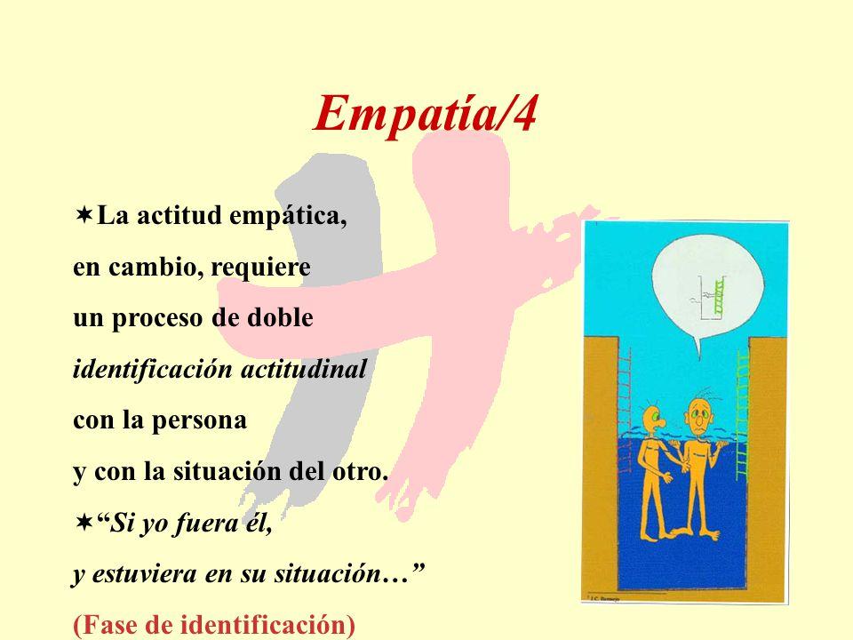 54 Empatía/4 La actitud empática, en cambio, requiere un proceso de doble identificación actitudinal con la persona y con la situación del otro. Si yo