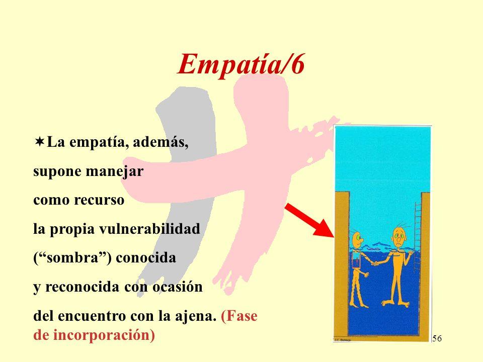 56 Empatía/6 La empatía, además, supone manejar como recurso la propia vulnerabilidad (sombra) conocida y reconocida con ocasión del encuentro con la