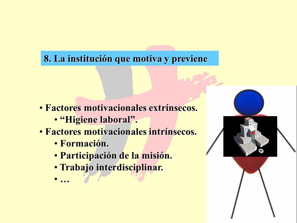 59 8. La institución que motiva y previene Factores motivacionales extrínsecos. Factores motivacionales extrínsecos. Higiene laboral. Higiene laboral.