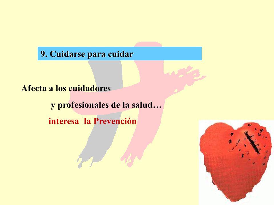 61 9. Cuidarse para cuidar Afecta a los cuidadores y profesionales de la salud… interesa la Prevención