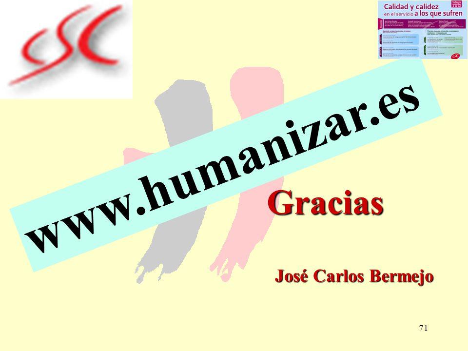 71 Gracias José Carlos Bermejo Gracias José Carlos Bermejo www.humanizar.es