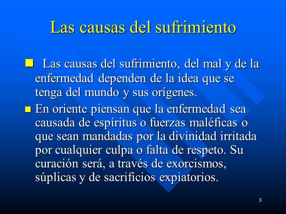 3 Las causas del sufrimiento Las causas del sufrimiento, del mal y de la enfermedad dependen de la idea que se tenga del mundo y sus orígenes.