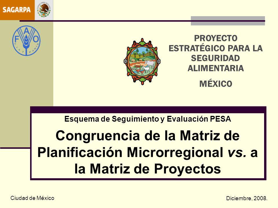 Esquema de Seguimiento y Evaluación PESA Congruencia de la Matriz de Planificación Microrregional vs. a la Matriz de Proyectos Ciudad de México Diciem