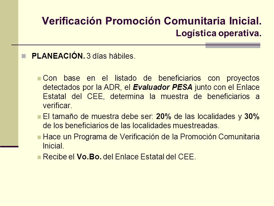 Verificación Promoción Comunitaria Inicial.Logística operativa.