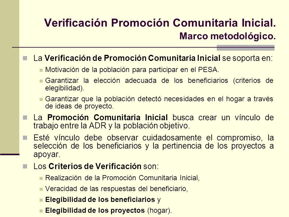 Verificación Promoción Comunitaria Inicial. Marco metodológico. La Verificación de Promoción Comunitaria Inicial se soporta en: Motivación de la pobla