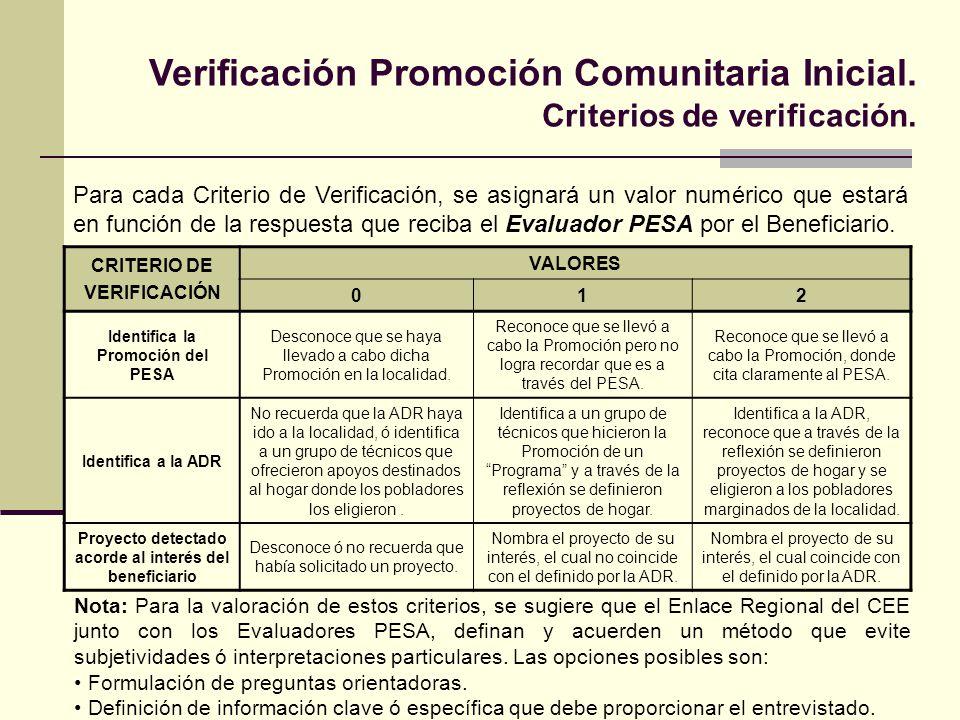 Para cada Criterio de Verificación, se asignará un valor numérico que estará en función de la respuesta que reciba el Evaluador PESA por el Beneficiario.