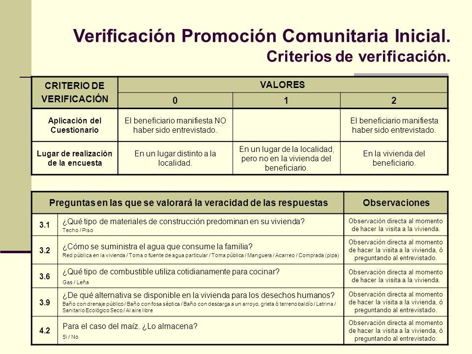 Verificación Promoción Comunitaria Inicial. Criterios de verificación. Preguntas en las que se valorará la veracidad de las respuestasObservaciones 3.