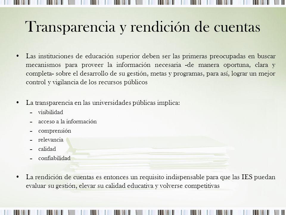 Transparencia en las finanzas de las instituciones públicas de educación superior Normas claras Transparencia Recursos Federales Recursos Estatales Fondos internacionales Donaciones/Cuotas Otros Monto recibido & destino Resultados mensurables