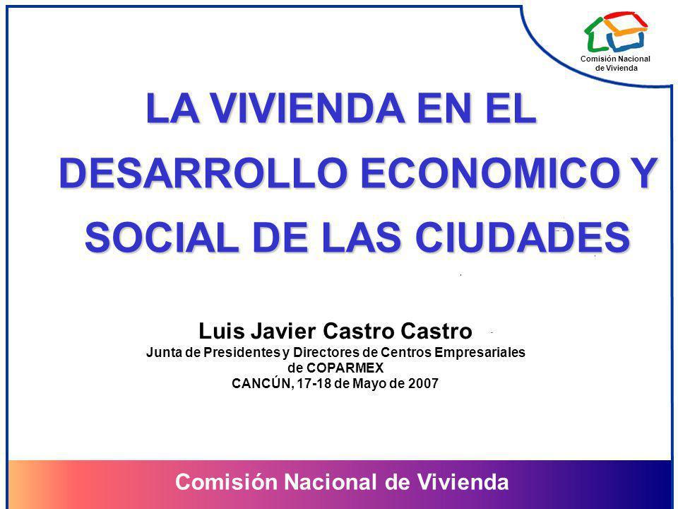Comisión Nacional de Vivienda Comisión Nacional de Vivienda LA VIVIENDA EN EL DESARROLLO ECONOMICO Y SOCIAL DE LAS CIUDADES Luis Javier Castro Castro