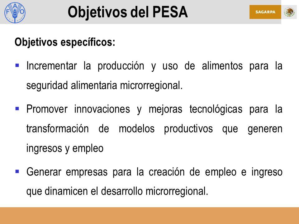 Objetivos del PESA Objetivos específicos: Incrementar la producción y uso de alimentos para la seguridad alimentaria microrregional.