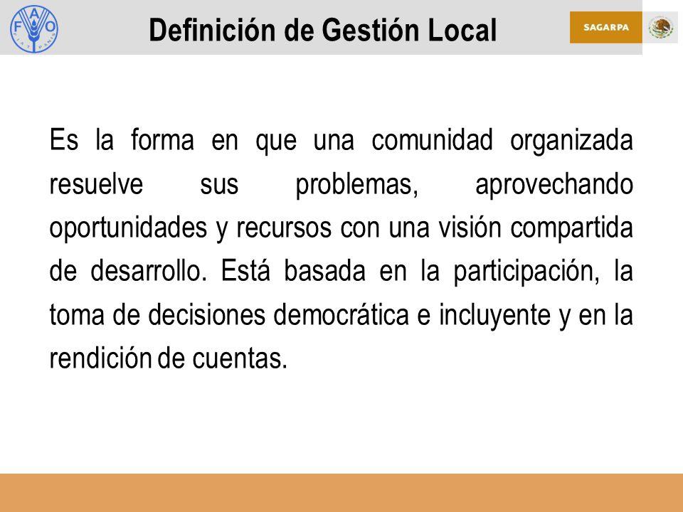 Definición de Gestión Local Es la forma en que una comunidad organizada resuelve sus problemas, aprovechando oportunidades y recursos con una visión compartida de desarrollo.