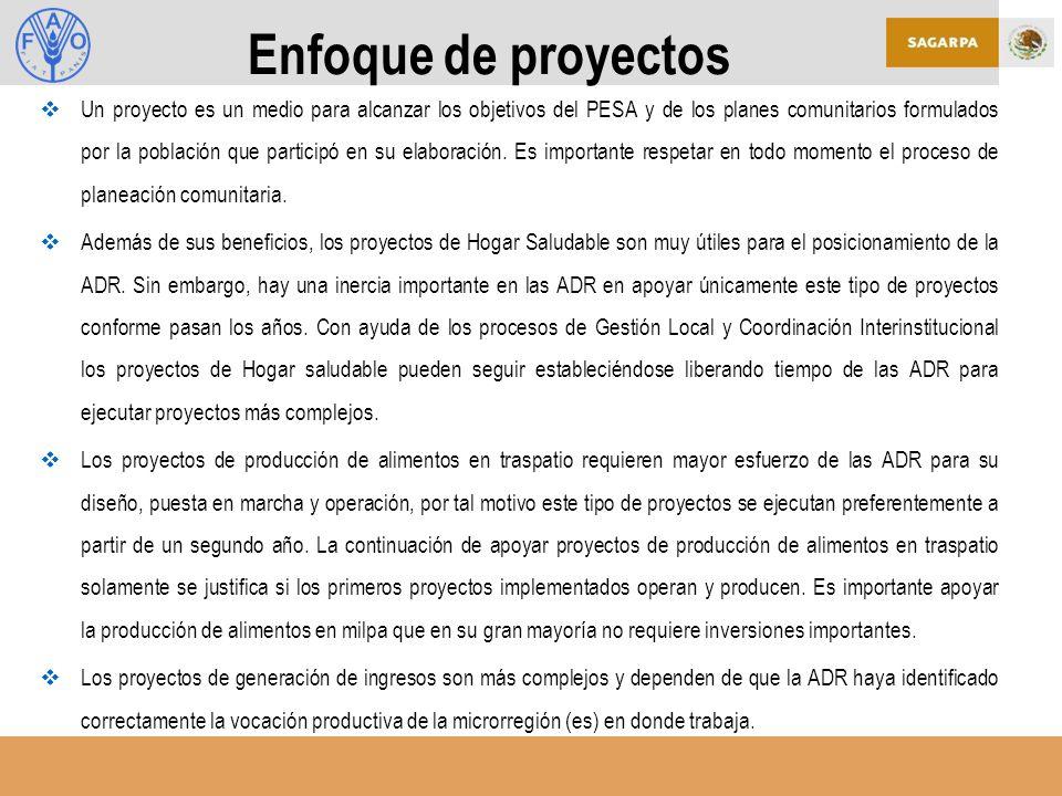 Enfoque de proyectos Un proyecto es un medio para alcanzar los objetivos del PESA y de los planes comunitarios formulados por la población que participó en su elaboración.