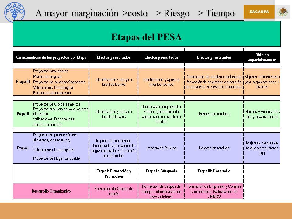 Etapas del PESA A mayor marginación >costo > Riesgo > Tiempo