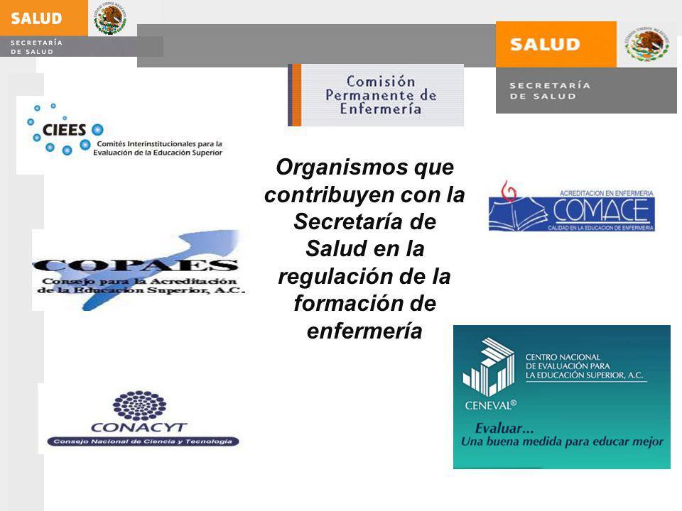 Organismos que contribuyen con la Secretaría de Salud en la regulación de la formación de enfermería