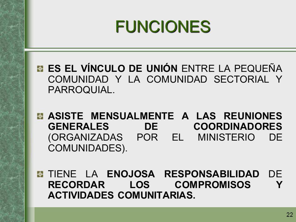 22 FUNCIONES ES EL VÍNCULO DE UNIÓN ENTRE LA PEQUEÑA COMUNIDAD Y LA COMUNIDAD SECTORIAL Y PARROQUIAL. ASISTE MENSUALMENTE A LAS REUNIONES GENERALES DE
