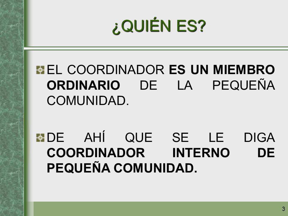 3 ¿QUIÉN ES? EL COORDINADOR ES UN MIEMBRO ORDINARIO DE LA PEQUEÑA COMUNIDAD. DE AHÍ QUE SE LE DIGA COORDINADOR INTERNO DE PEQUEÑA COMUNIDAD.