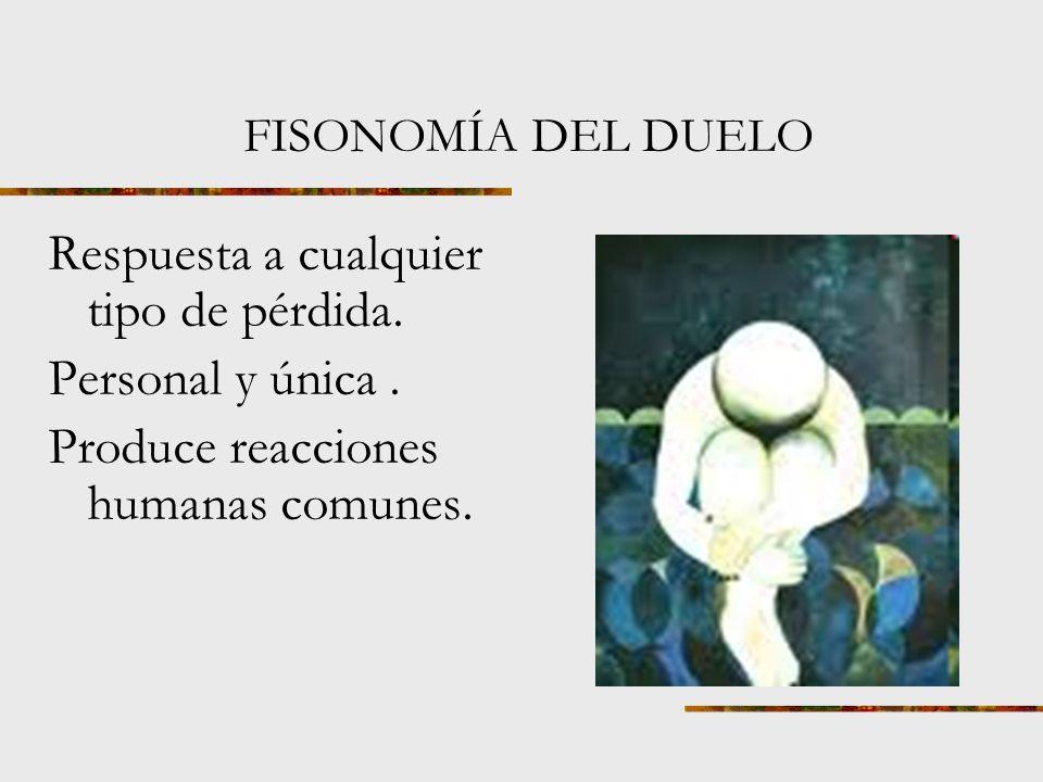 FISONOMÍA DEL DUELO Duelo: dolor, lástima, aflicción o sentimiento.