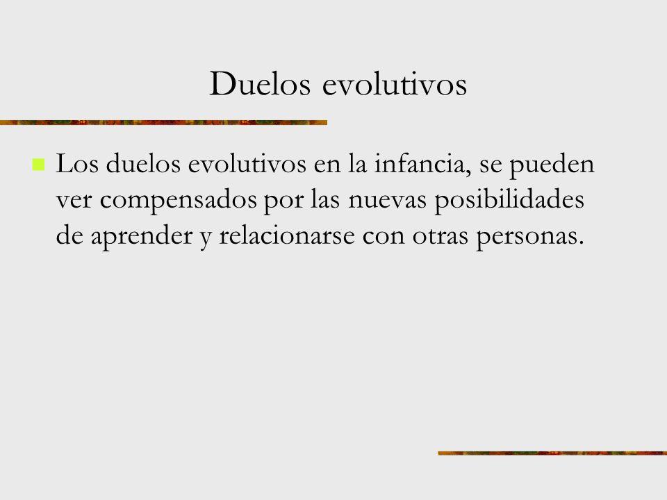 Duelos evolutivos Infancia, pubertad, adolescencia, emancipación, Nido vacío