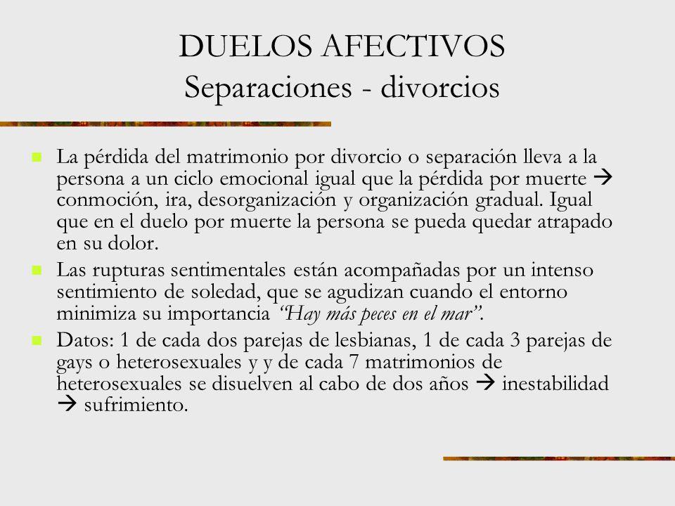 Duelos afectivos Separaciones. Divorcios. desprecios