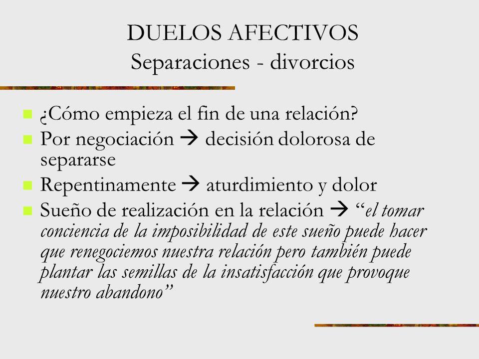 DUELOS AFECTIVOS Separaciones - divorcios La pérdida del matrimonio por divorcio o separación lleva a la persona a un ciclo emocional igual que la pérdida por muerte conmoción, ira, desorganización y organización gradual.