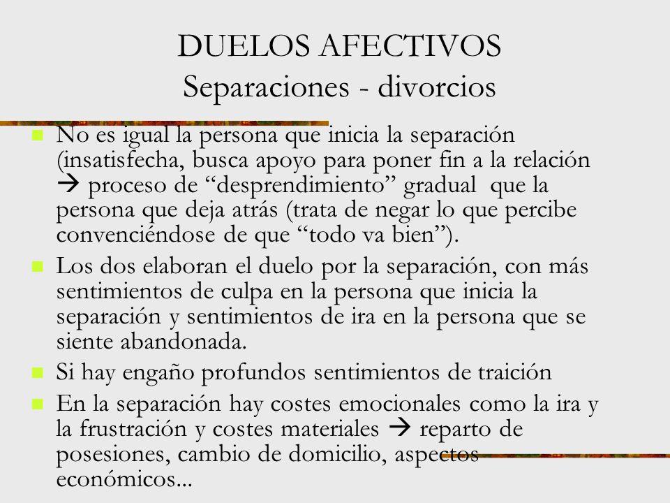 DUELOS AFECTIVOS Separaciones - divorcios ¿Cómo empieza el fin de una relación.