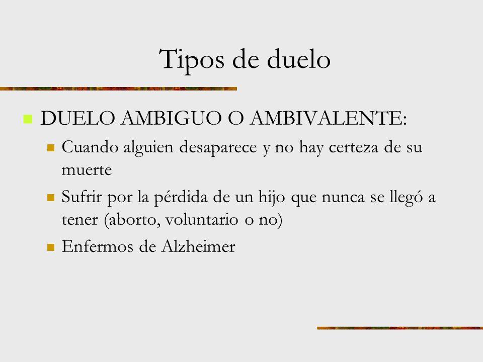 Tipos de duelo DUELO PATOLÓGICO: también llamado duelo complicado.