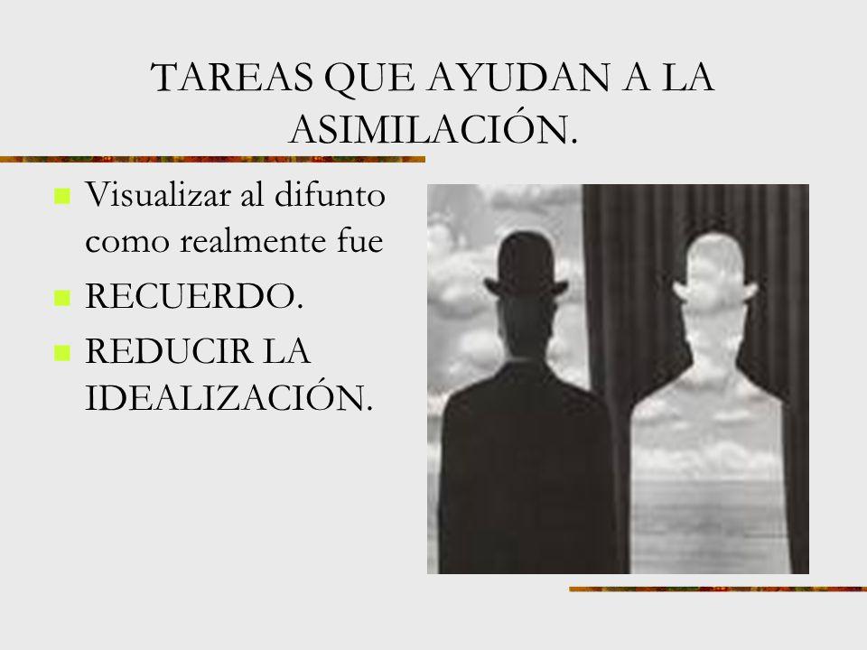 TAREAS QUE AYUDAN Emancipación emocional de las uniones de apego con el difunto o con la persona amada. Presencia de la ausencia.