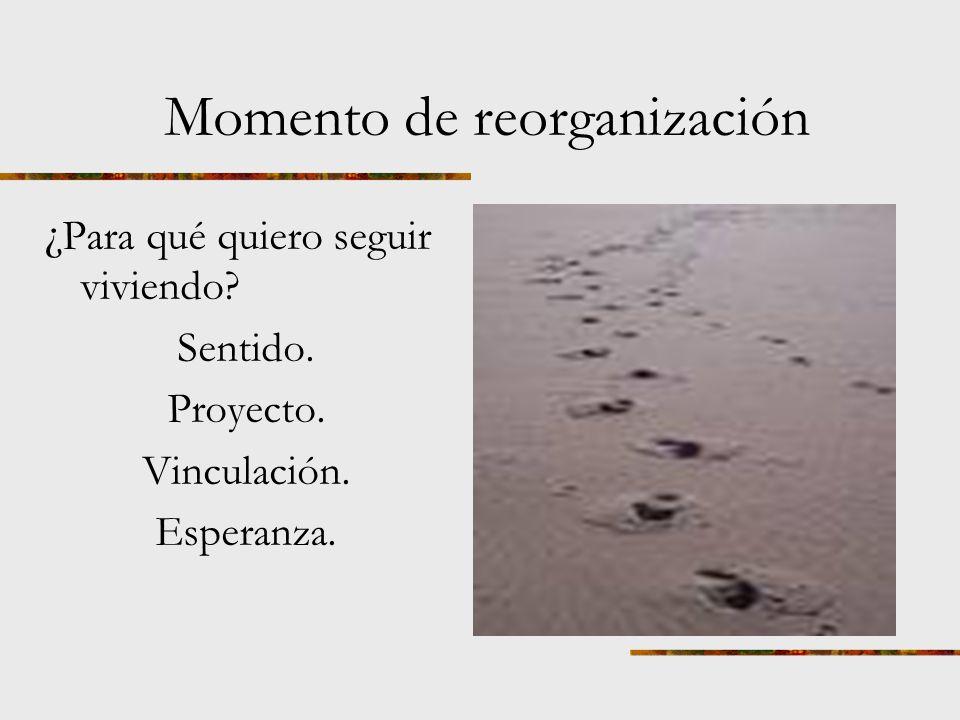 TERCER MOMENTO: ACOMODACIÓN. Respuestas REORGANIZACIÓN. Apertura a nuevas relaciones. Búsqueda de nuevos objetivos. Recuerdos apreciados.