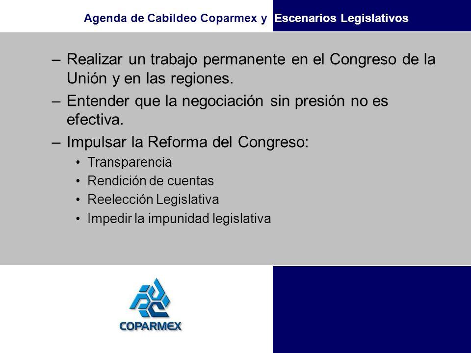 Agenda de Cabildeo Coparmex y Escenarios Legislativos –Realizar un trabajo permanente en el Congreso de la Unión y en las regiones. –Entender que la n