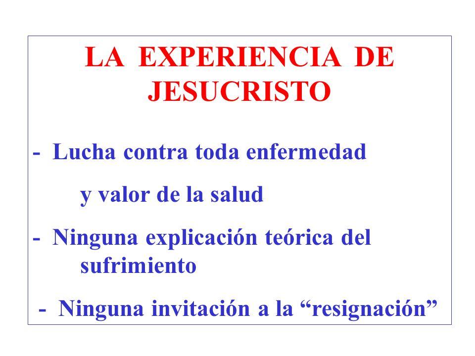 LA EXPERIENCIA DE JESUCRISTO - Lucha contra toda enfermedad y valor de la salud - Ninguna explicación teórica del sufrimiento - Ninguna invitación a l
