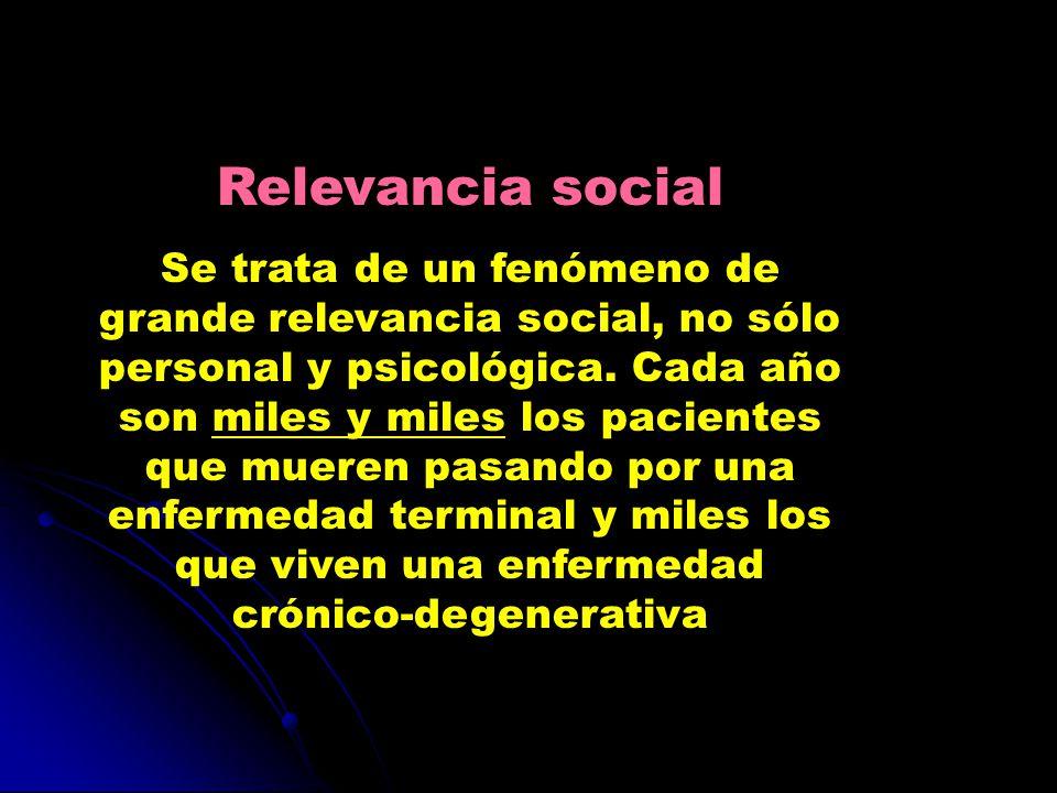 Relevancia social Se trata de un fenómeno de grande relevancia social, no sólo personal y psicológica. Cada año son miles y miles los pacientes que mu