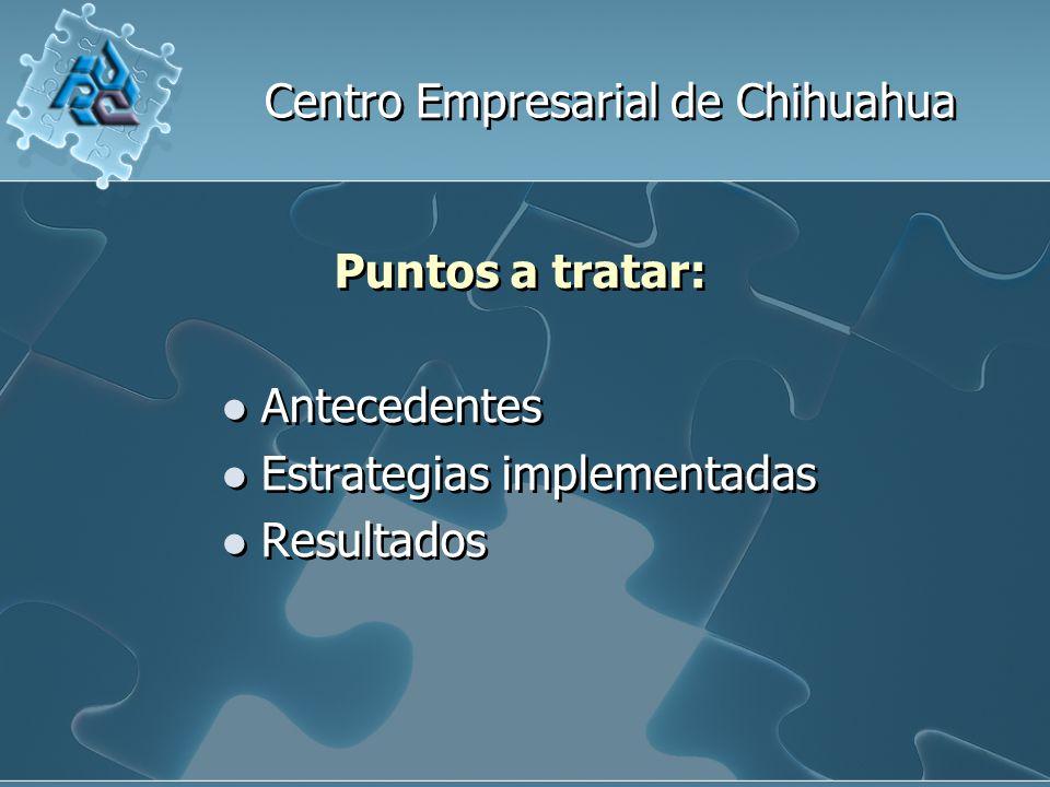 Centro Empresarial de Chihuahua Puntos a tratar: Antecedentes Estrategias implementadas Resultados Puntos a tratar: Antecedentes Estrategias implementadas Resultados