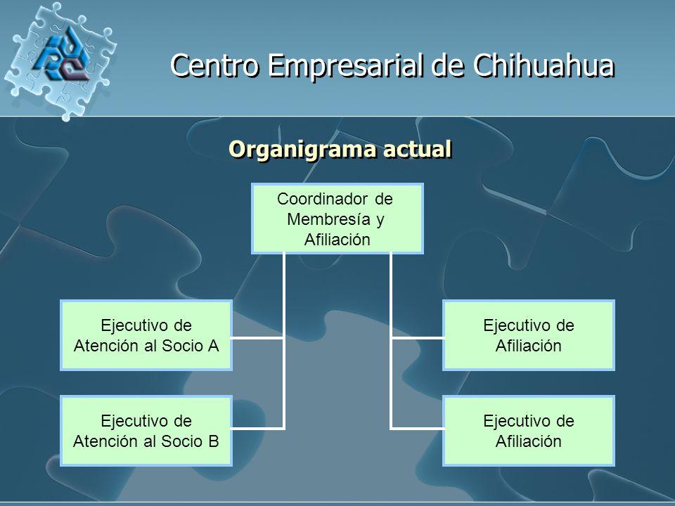 Centro Empresarial de Chihuahua Organigrama actual Coordinador de Membresía y Afiliación Ejecutivo de Afiliación Ejecutivo de Afiliación Ejecutivo de Atención al Socio A Ejecutivo de Atención al Socio B