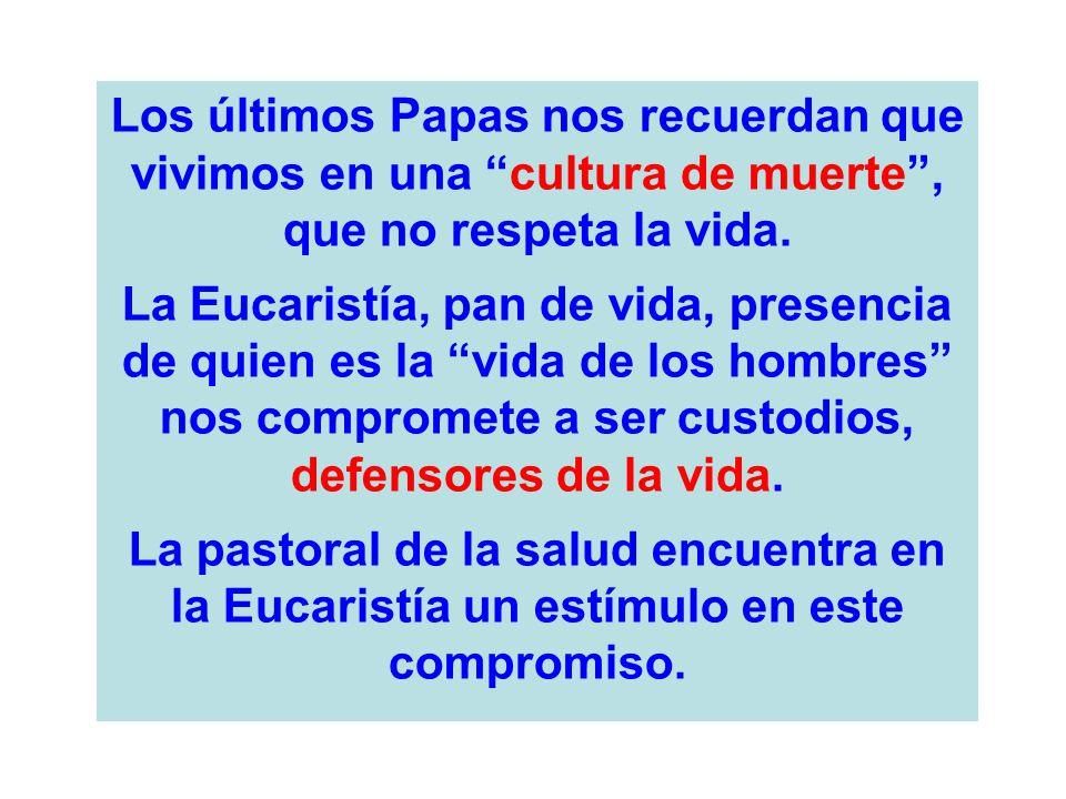 Los últimos Papas nos recuerdan que vivimos en una cultura de muerte, que no respeta la vida. La Eucaristía, pan de vida, presencia de quien es la vid