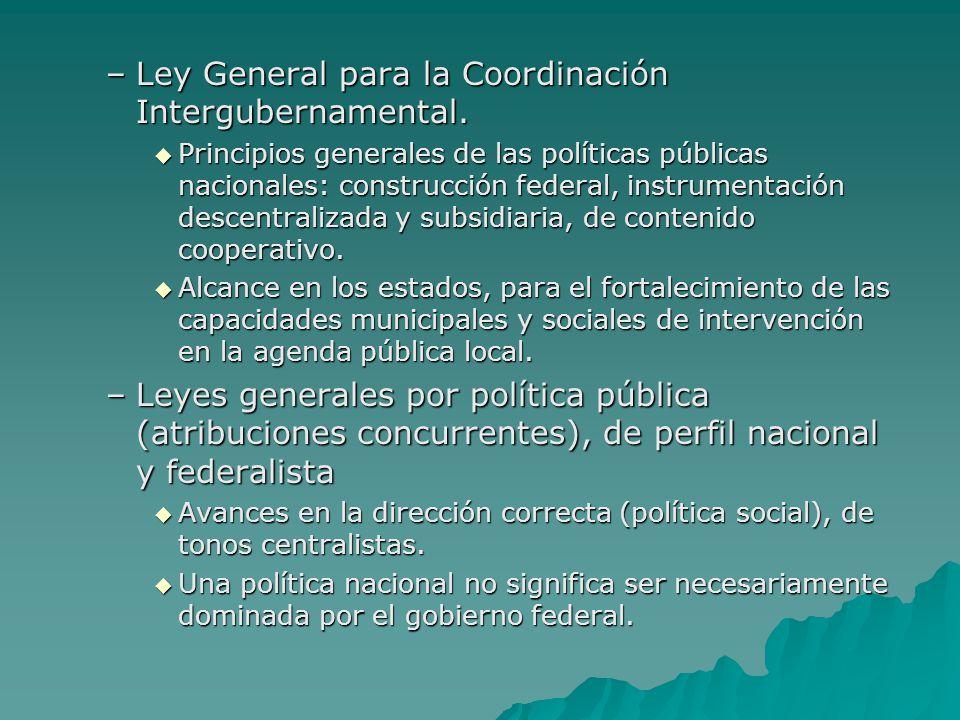 –Ley General para la Coordinación Intergubernamental. Principios generales de las políticas públicas nacionales: construcción federal, instrumentación
