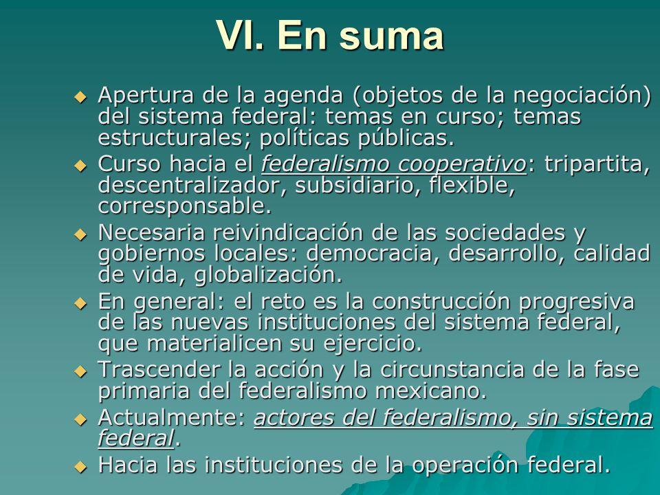 VI. En suma Apertura de la agenda (objetos de la negociación) del sistema federal: temas en curso; temas estructurales; políticas públicas. Apertura d