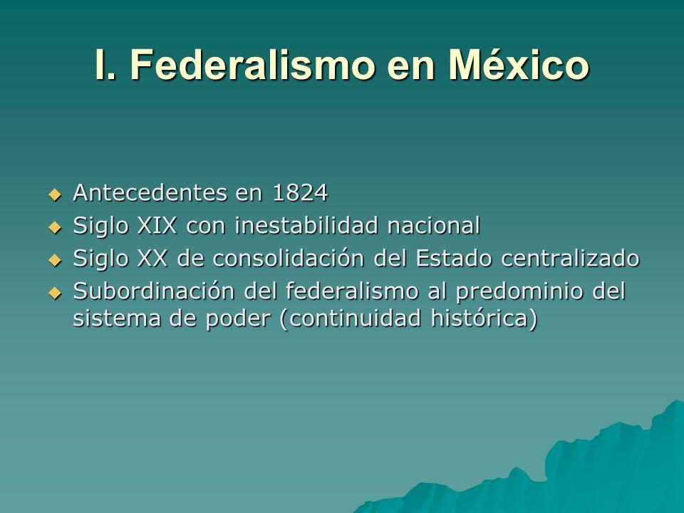 I. Federalismo en México Antecedentes en 1824 Antecedentes en 1824 Siglo XIX con inestabilidad nacional Siglo XIX con inestabilidad nacional Siglo XX