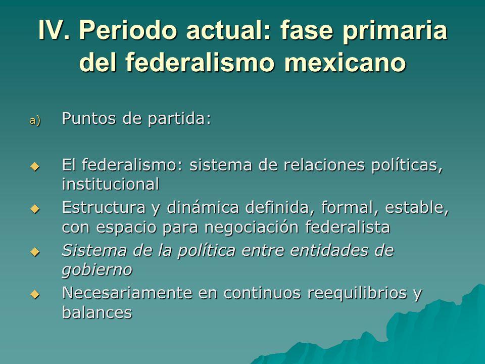 IV. Periodo actual: fase primaria del federalismo mexicano a) Puntos de partida: El federalismo: sistema de relaciones políticas, institucional El fed