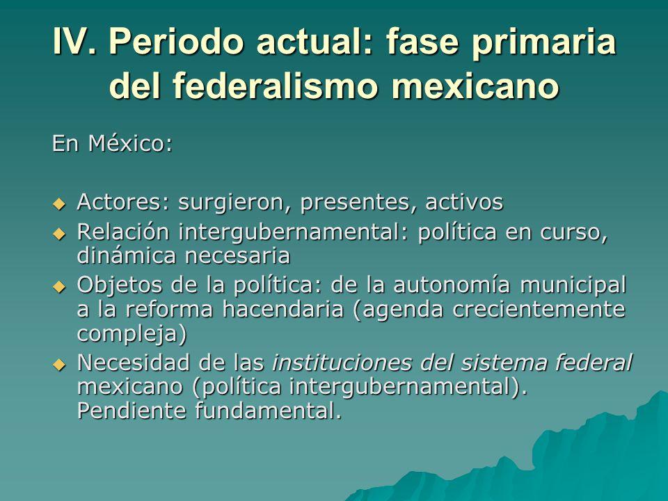 IV. Periodo actual: fase primaria del federalismo mexicano En México: Actores: surgieron, presentes, activos Actores: surgieron, presentes, activos Re