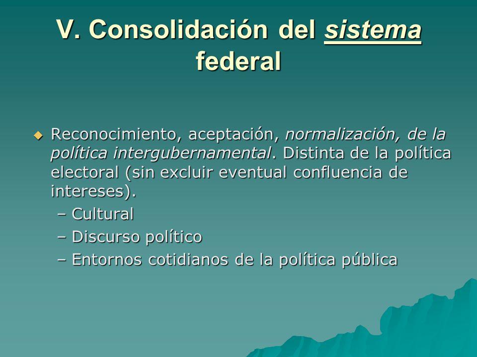 V. Consolidación del sistema federal Reconocimiento, aceptación, normalización, de la política intergubernamental. Distinta de la política electoral (