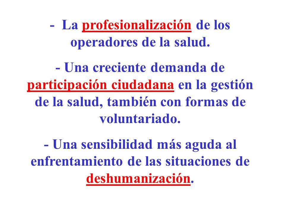- La profesionalización de los operadores de la salud. - Una creciente demanda de participación ciudadana en la gestión de la salud, también con forma
