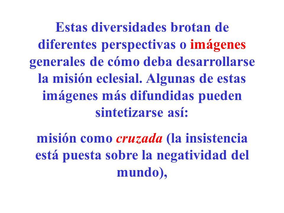 Estas diversidades brotan de diferentes perspectivas o imágenes generales de cómo deba desarrollarse la misión eclesial. Algunas de estas imágenes más