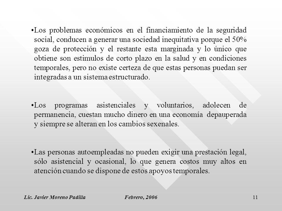 Lic. Javier Moreno PadillaFebrero, 200611 Los problemas económicos en el financiamiento de la seguridad social, conducen a generar una sociedad inequi