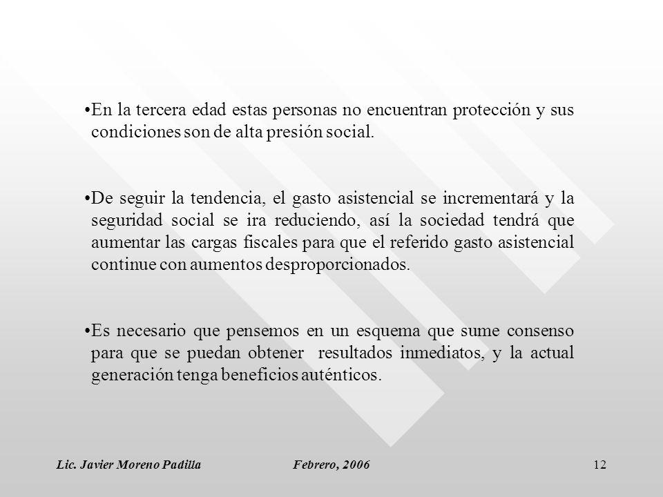 Lic. Javier Moreno PadillaFebrero, 200612 En la tercera edad estas personas no encuentran protección y sus condiciones son de alta presión social. De