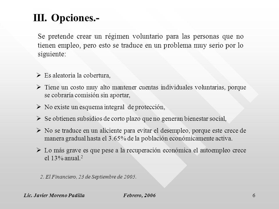 Lic. Javier Moreno PadillaFebrero, 20066 Es aleatoria la cobertura, Tiene un costo muy alto mantener cuentas individuales voluntarias, porque se cobra
