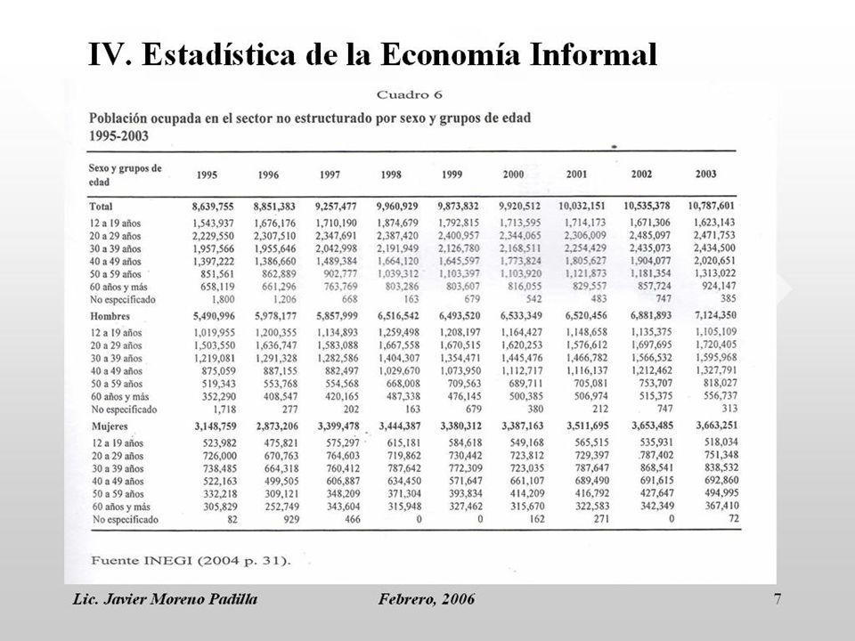 Lic. Javier Moreno PadillaFebrero, 20067 IV. Estadística de la Economía Informal